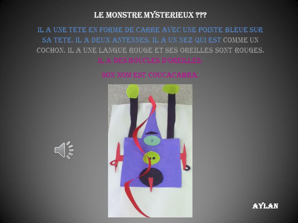 Aylan Le monstre mysterieux ??.Il a une tete en forme de carre avec une pointe bleue sur sa tete.
