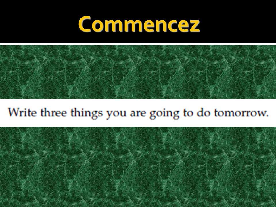 Français 1 lundi, le 11 mars mars 2013 Objectifs: Commander les boissons et la nourriture Utiliser le verbe «aller» Utiliser le verbe aller avec linfinitif pour former le futur proche Identifier les venues Décrire les activitiés Utiliser les possessifs Activités: Commencez Cahier BV p.