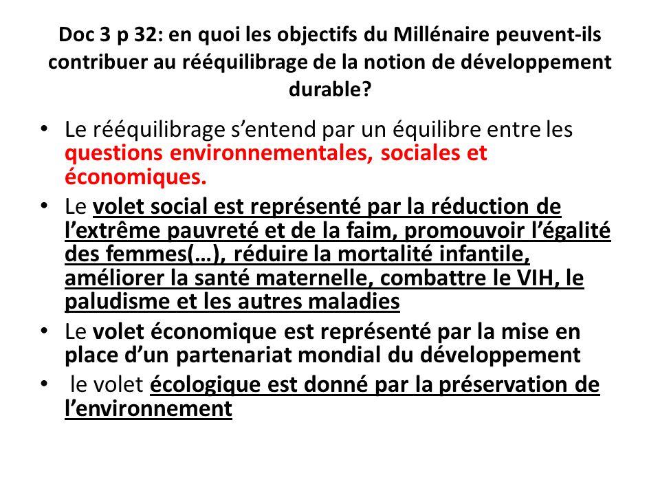 Doc 3 p 32: en quoi les objectifs du Millénaire peuvent-ils contribuer au rééquilibrage de la notion de développement durable? Le rééquilibrage senten