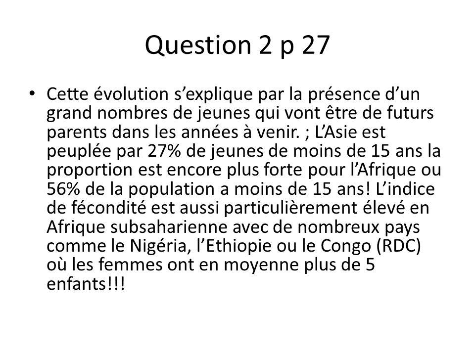 Question 3 p 27 Cest lAfrique et surtout lAfrique subsaharienne qui a le plus fort pourcentage de personnes sous- alimentées (en général avec des taux supérieur à 35% voire plus de 50ù pour la République démocratique du Congo.