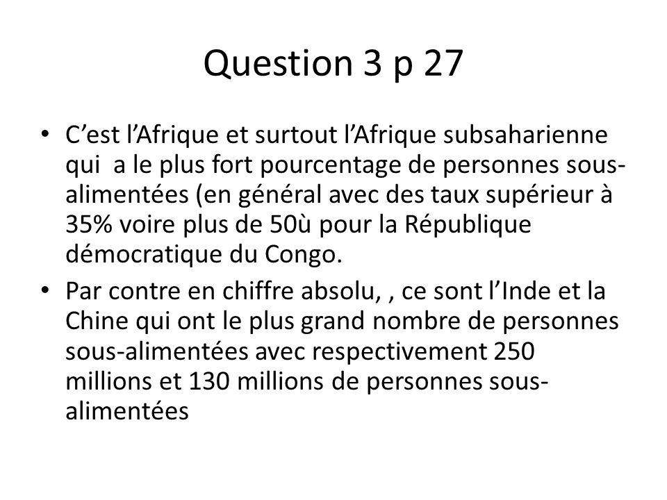 Question 3 p 27 Cest lAfrique et surtout lAfrique subsaharienne qui a le plus fort pourcentage de personnes sous- alimentées (en général avec des taux