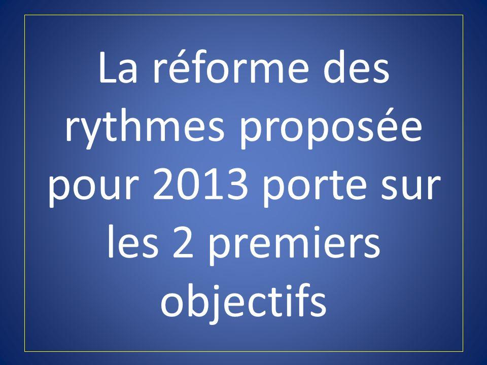 La réforme des rythmes proposée pour 2013 porte sur les 2 premiers objectifs
