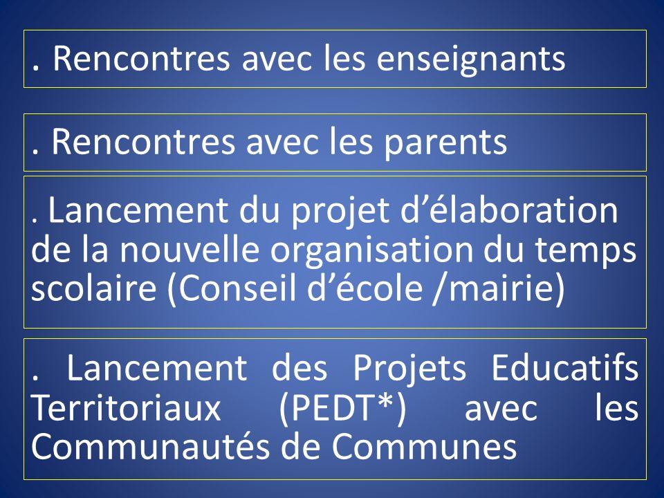 . Rencontres avec les enseignants. Rencontres avec les parents. Lancement des Projets Educatifs Territoriaux (PEDT*) avec les Communautés de Communes.