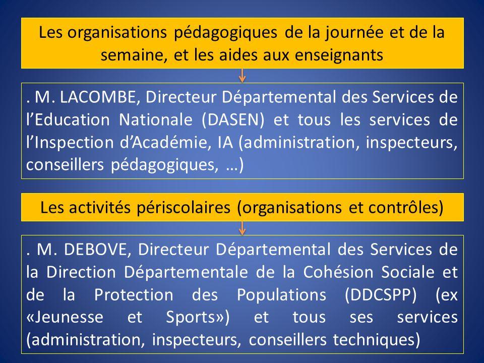. M. LACOMBE, Directeur Départemental des Services de lEducation Nationale (DASEN) et tous les services de lInspection dAcadémie, IA (administration,