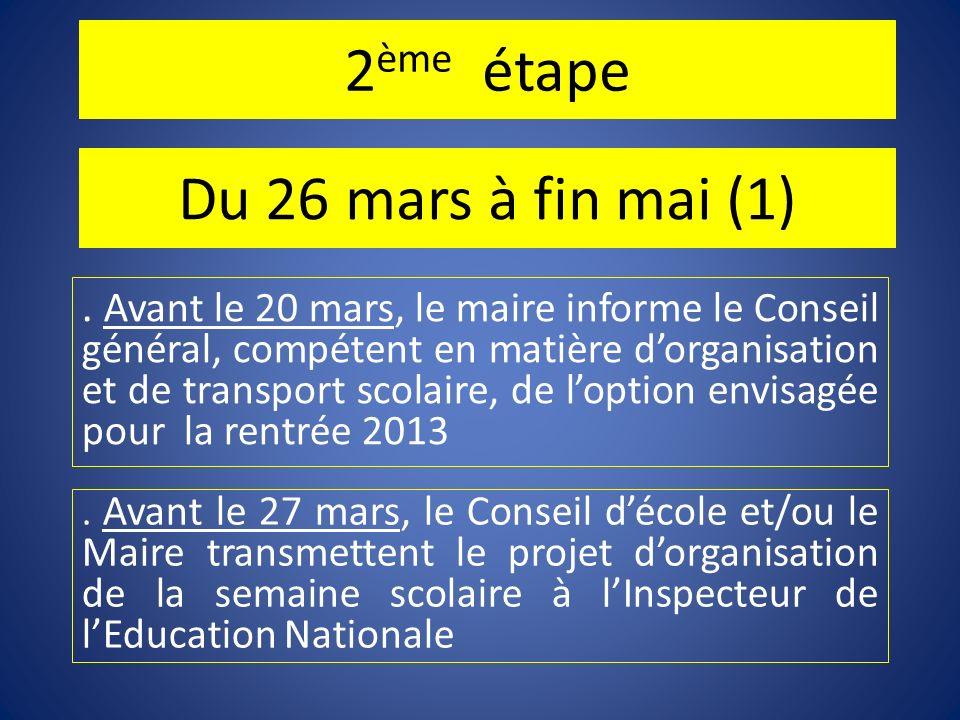 2 ème étape Du 26 mars à fin mai (1). Avant le 20 mars, le maire informe le Conseil général, compétent en matière dorganisation et de transport scolai