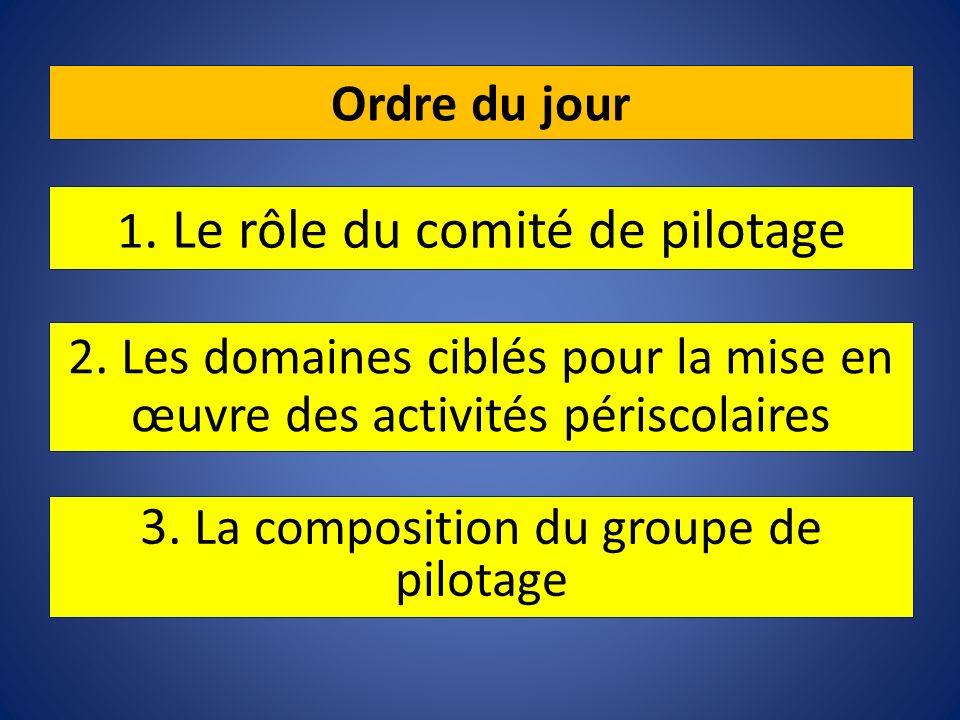 Ordre du jour 3. La composition du groupe de pilotage 1. Le rôle du comité de pilotage 2. Les domaines ciblés pour la mise en œuvre des activités péri