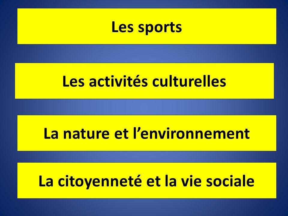 Les sports Les activités culturelles La nature et lenvironnement La citoyenneté et la vie sociale