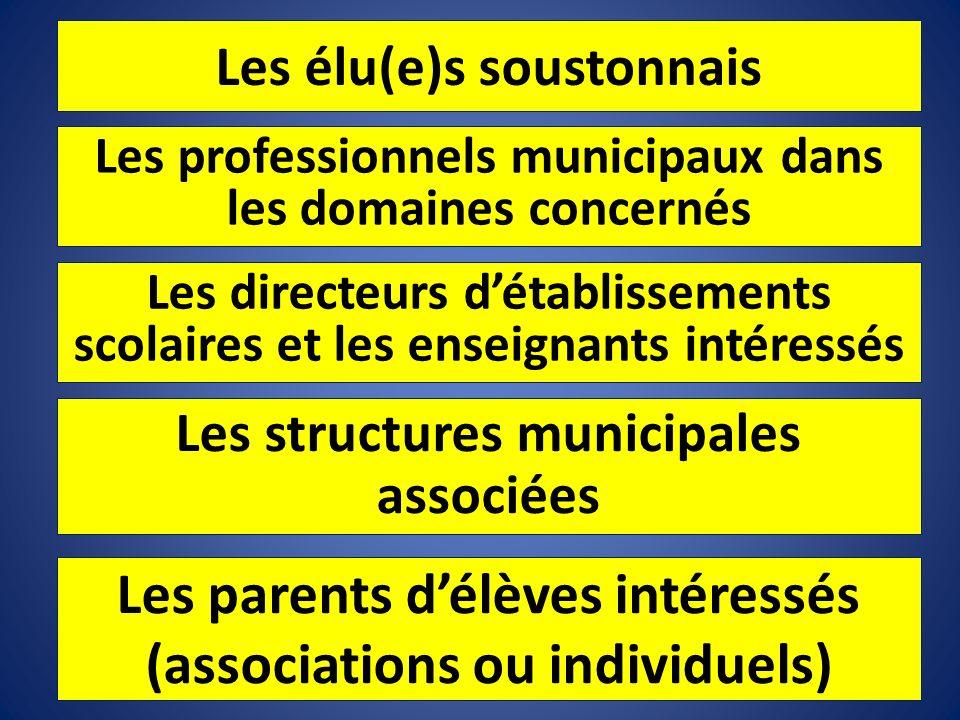 Les élu(e)s soustonnais Les professionnels municipaux dans les domaines concernés Les directeurs détablissements scolaires et les enseignants intéress