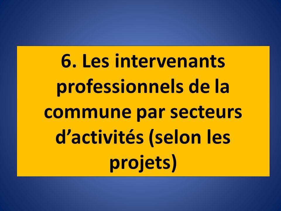 6. Les intervenants professionnels de la commune par secteurs dactivités (selon les projets)