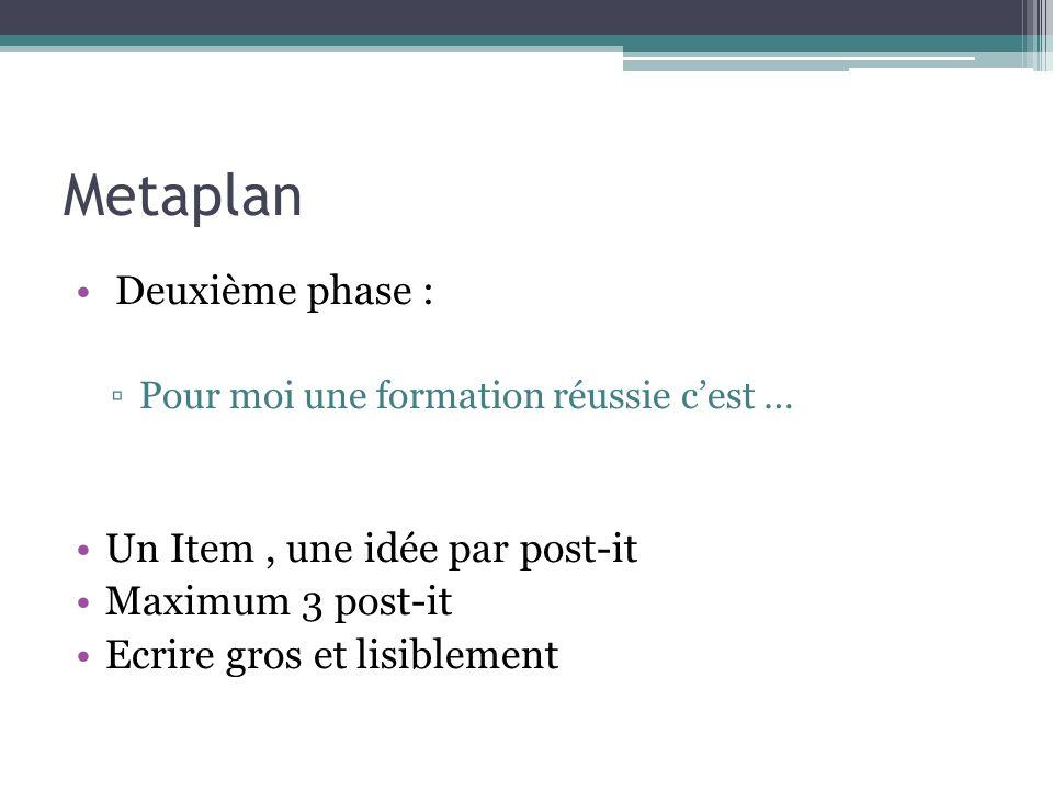 Metaplan Deuxième phase : Pour moi une formation réussie cest … Un Item, une idée par post-it Maximum 3 post-it Ecrire gros et lisiblement