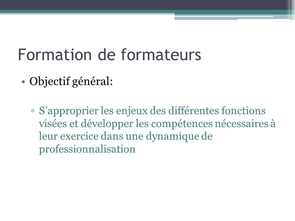 Formation de formateurs Objectif général: Sapproprier les enjeux des différentes fonctions visées et développer les compétences nécessaires à leur exe
