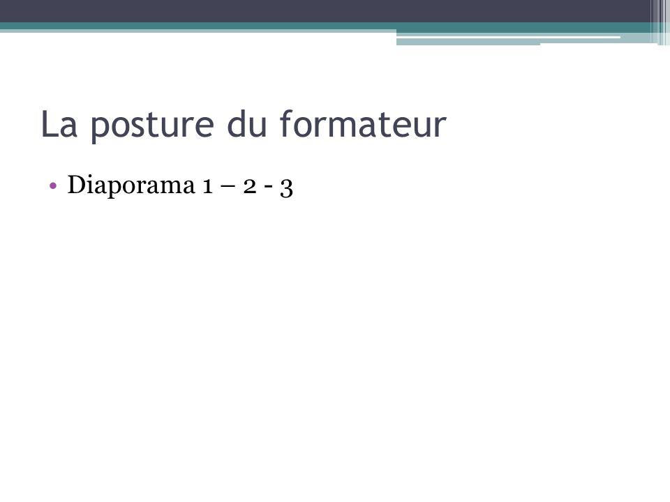 La posture du formateur Diaporama 1 – 2 - 3