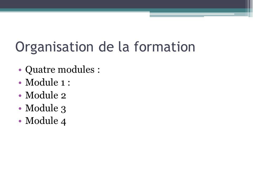Organisation de la formation Quatre modules : Module 1 : Module 2 Module 3 Module 4
