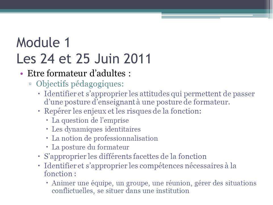 Module 1 Les 24 et 25 Juin 2011 Etre formateur dadultes : Objectifs pédagogiques: Identifier et sapproprier les attitudes qui permettent de passer dun