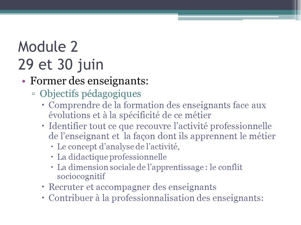 Module 2 29 et 30 juin Former des enseignants: Objectifs pédagogiques Comprendre de la formation des enseignants face aux évolutions et à la spécifici