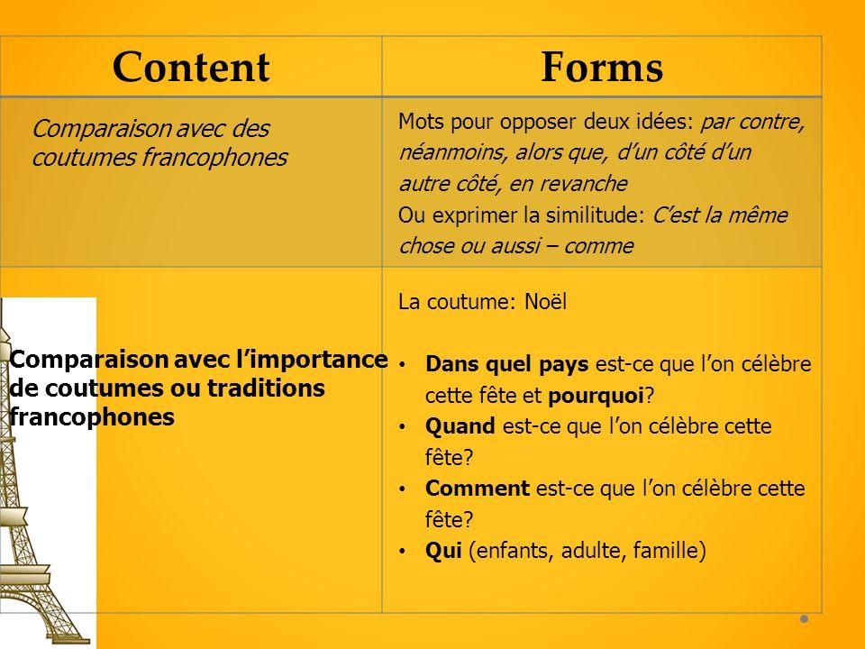 ContentForms Comparaison avec limportance de coutumes ou traditions francophones La coutume: Noël Dans quel pays est-ce que lon célèbre cette fête et