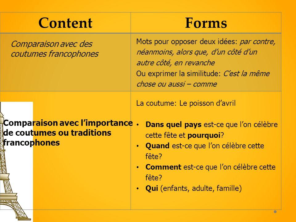 ContentForms Comparaison avec limportance de coutumes ou traditions francophones La coutume: Le poisson davril Dans quel pays est-ce que lon célèbre c