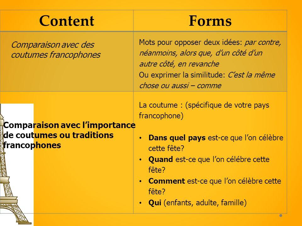 ContentForms Comparaison avec limportance de coutumes ou traditions francophones La coutume : (spécifique de votre pays francophone) Dans quel pays es