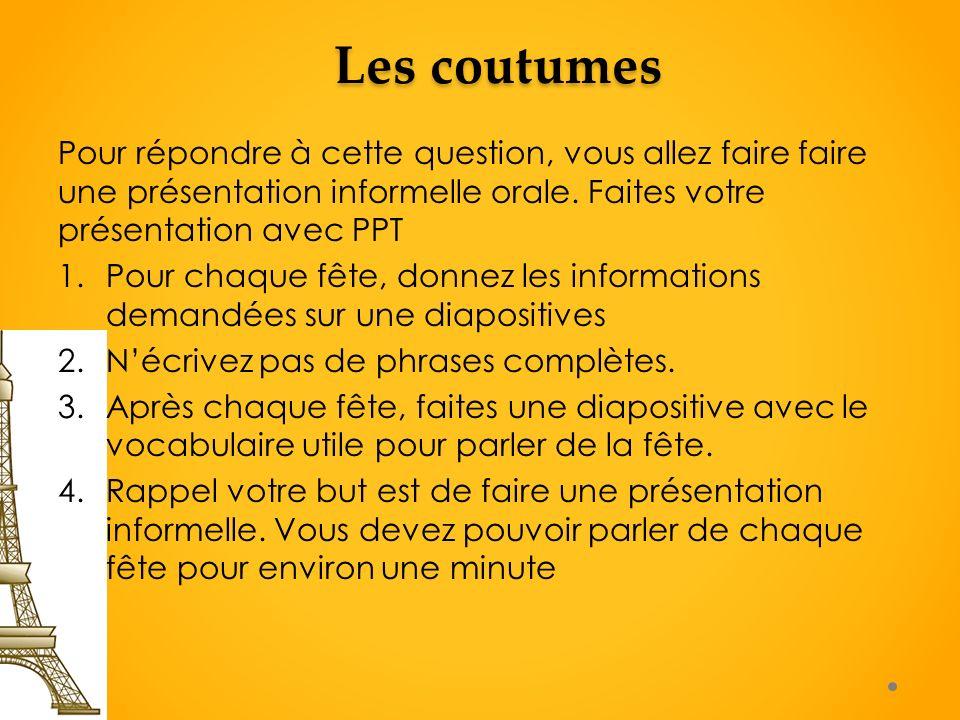 ContentForms Comparaison avec limportance de coutumes ou traditions francophones La coutume: Le poisson davril Dans quel pays est-ce que lon célèbre cette fête et pourquoi.