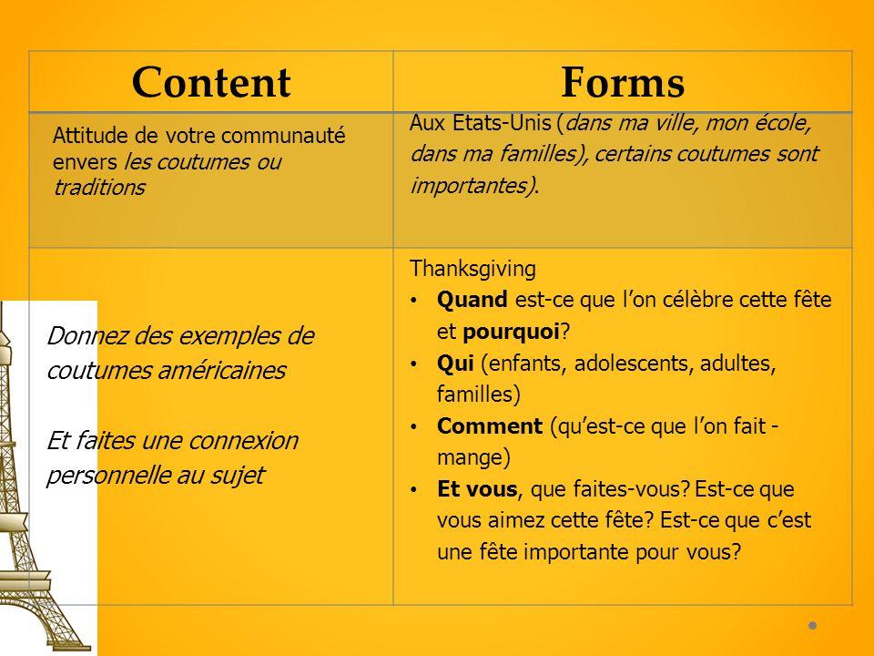 ContentForms Attitude de votre communauté envers les coutumes ou traditions Aux Etats-Unis (dans ma ville, mon école, dans ma familles), certains cout