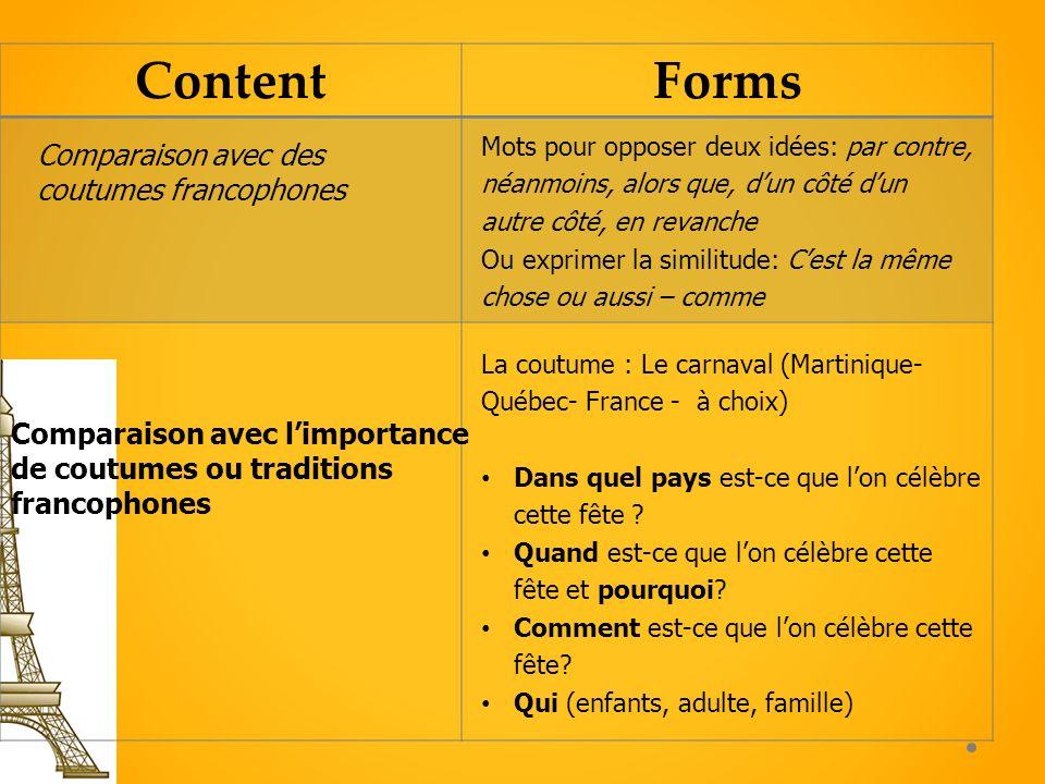 ContentForms Comparaison avec limportance de coutumes ou traditions francophones La coutume : Le carnaval (Martinique- Québec- France - à choix) Dans