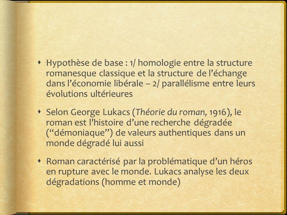 Hypothèse de base : 1/ homologie entre la structure romanesque classique et la structure de léchange dans léconomie libérale – 2/ parallélisme entre l