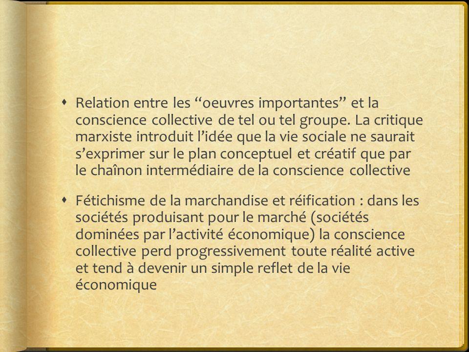 Relation entre les oeuvres importantes et la conscience collective de tel ou tel groupe. La critique marxiste introduit lidée que la vie sociale ne sa