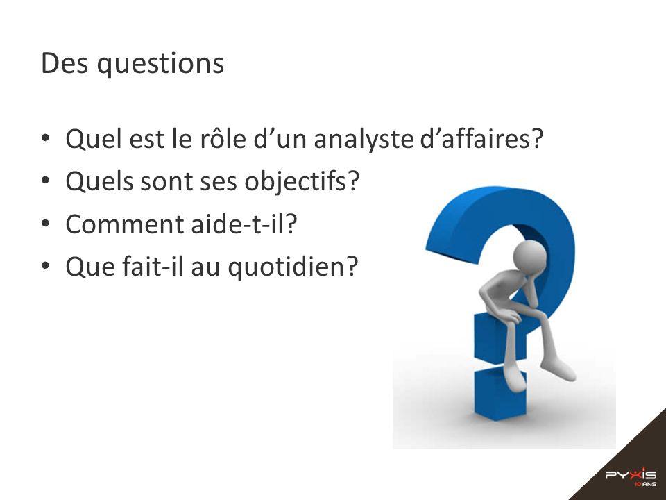 Des questions Quel est le rôle dun analyste daffaires? Quels sont ses objectifs? Comment aide-t-il? Que fait-il au quotidien?