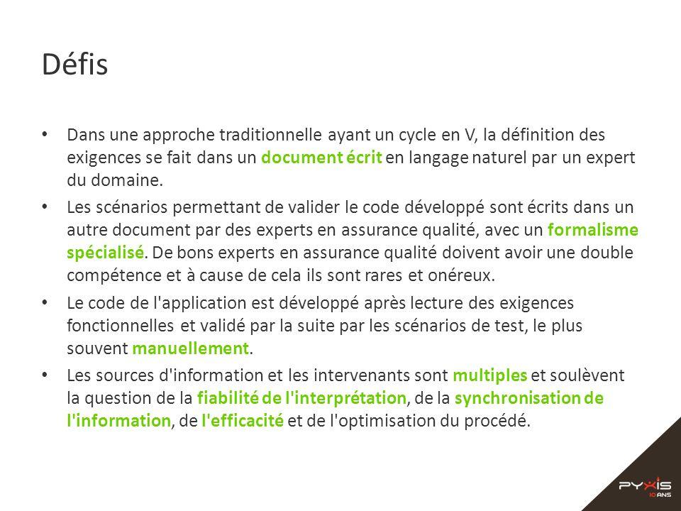 Défis Dans une approche traditionnelle ayant un cycle en V, la définition des exigences se fait dans un document écrit en langage naturel par un exper