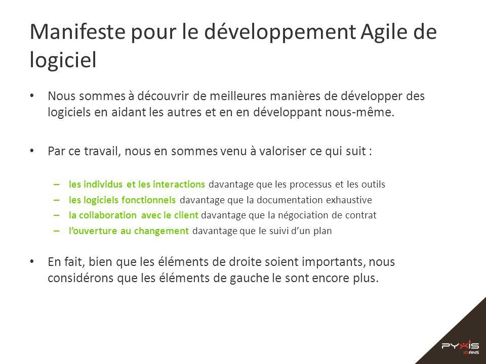 Manifeste pour le développement Agile de logiciel Nous sommes à découvrir de meilleures manières de développer des logiciels en aidant les autres et e
