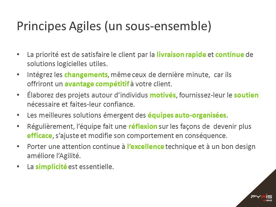 Principes Agiles (un sous-ensemble) La priorité est de satisfaire le client par la livraison rapide et continue de solutions logicielles utiles. Intég