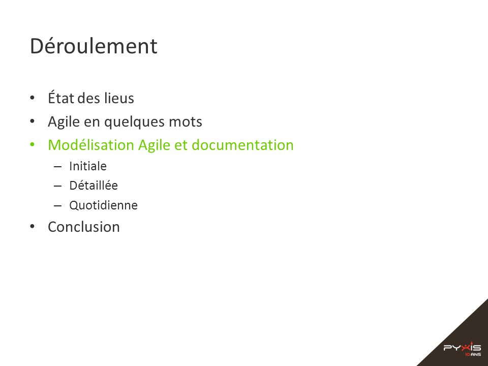 Déroulement État des lieus Agile en quelques mots Modélisation Agile et documentation – Initiale – Détaillée – Quotidienne Conclusion