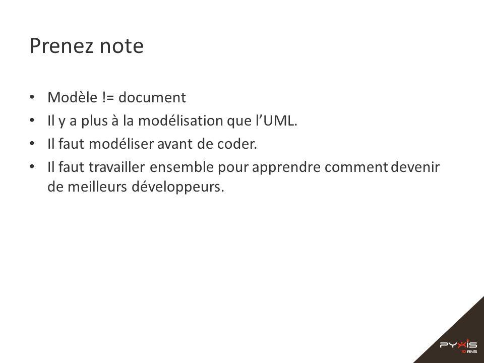 Prenez note Modèle != document Il y a plus à la modélisation que lUML. Il faut modéliser avant de coder. Il faut travailler ensemble pour apprendre co