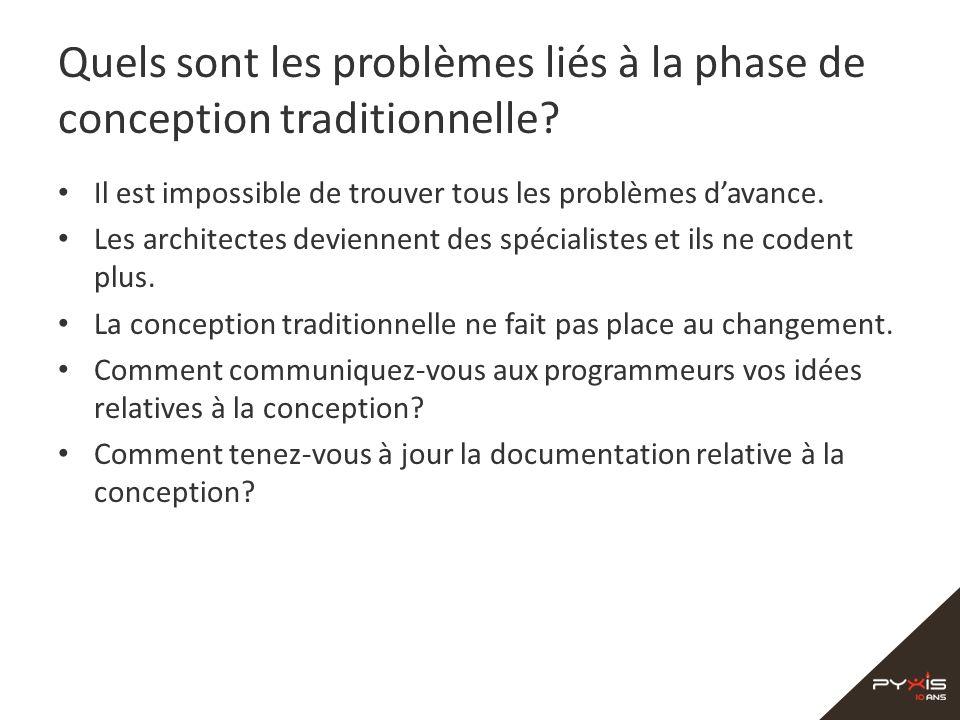 Quels sont les problèmes liés à la phase de conception traditionnelle? Il est impossible de trouver tous les problèmes davance. Les architectes devien