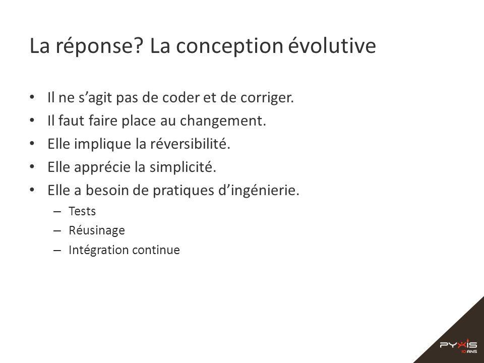 La réponse? La conception évolutive Il ne sagit pas de coder et de corriger. Il faut faire place au changement. Elle implique la réversibilité. Elle a
