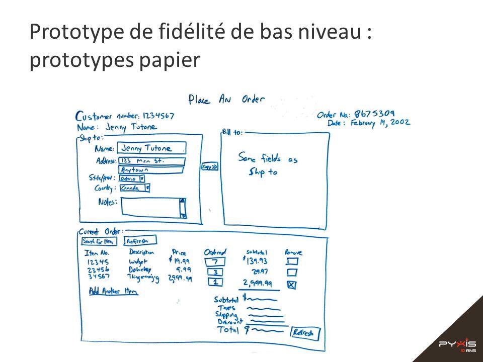 Prototype de fidélité de bas niveau : prototypes papier