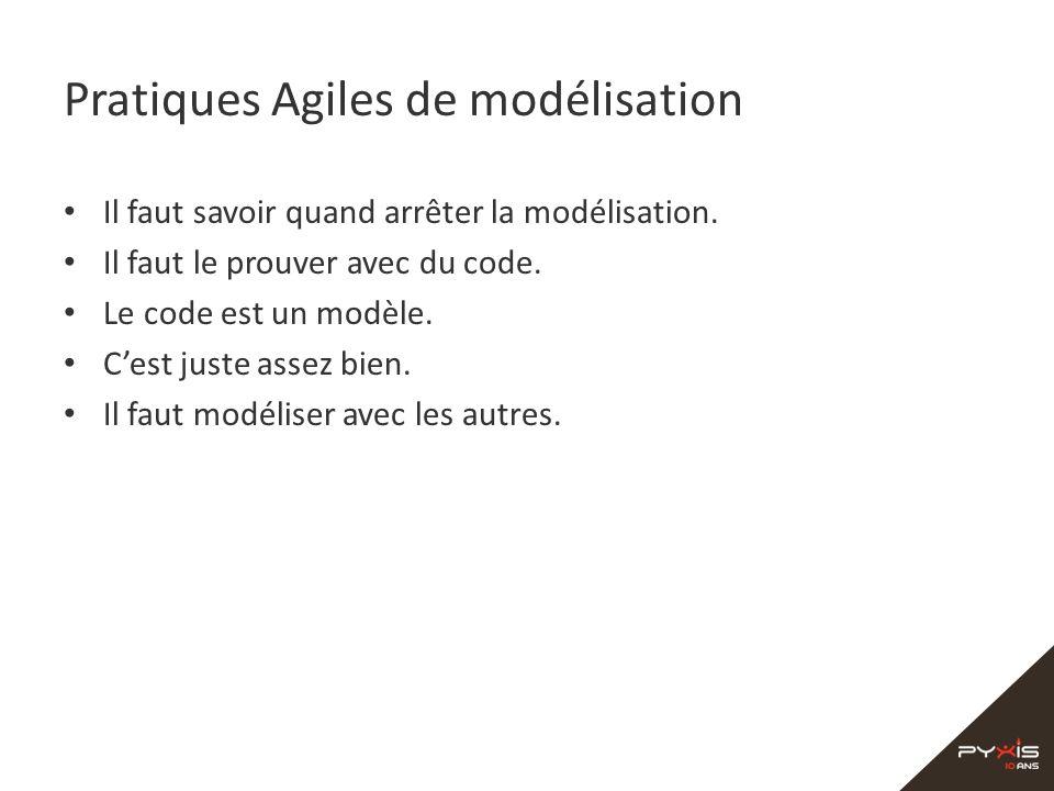 Pratiques Agiles de modélisation Il faut savoir quand arrêter la modélisation. Il faut le prouver avec du code. Le code est un modèle. Cest juste asse