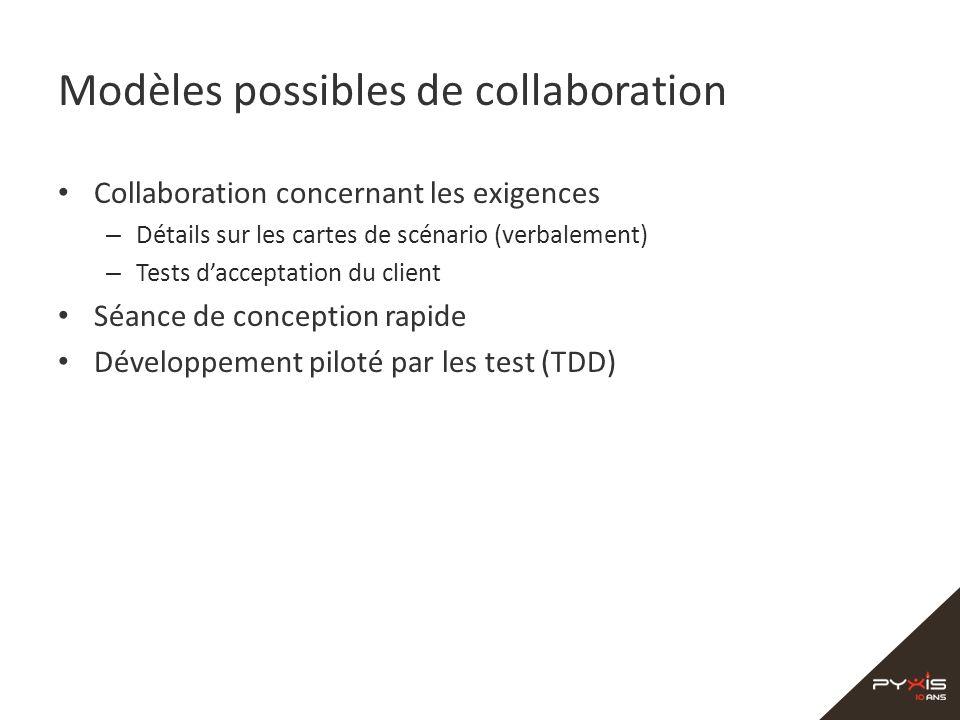 Modèles possibles de collaboration Collaboration concernant les exigences – Détails sur les cartes de scénario (verbalement) – Tests dacceptation du c