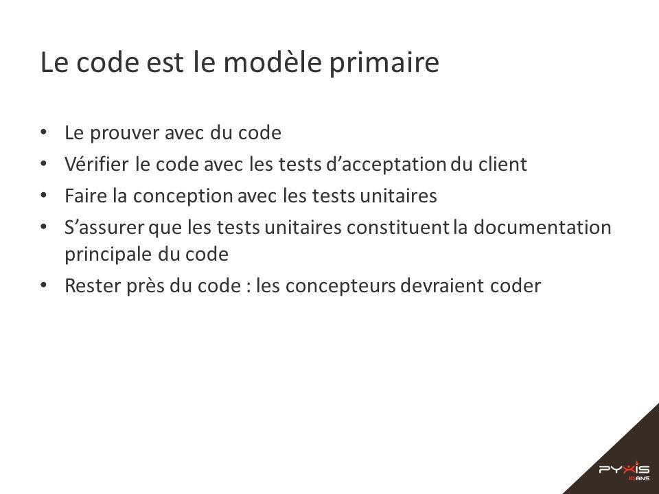 Le code est le modèle primaire Le prouver avec du code Vérifier le code avec les tests dacceptation du client Faire la conception avec les tests unita