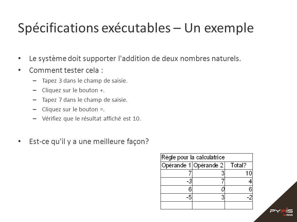 Spécifications exécutables – Un exemple Le système doit supporter l'addition de deux nombres naturels. Comment tester cela : – Tapez 3 dans le champ d