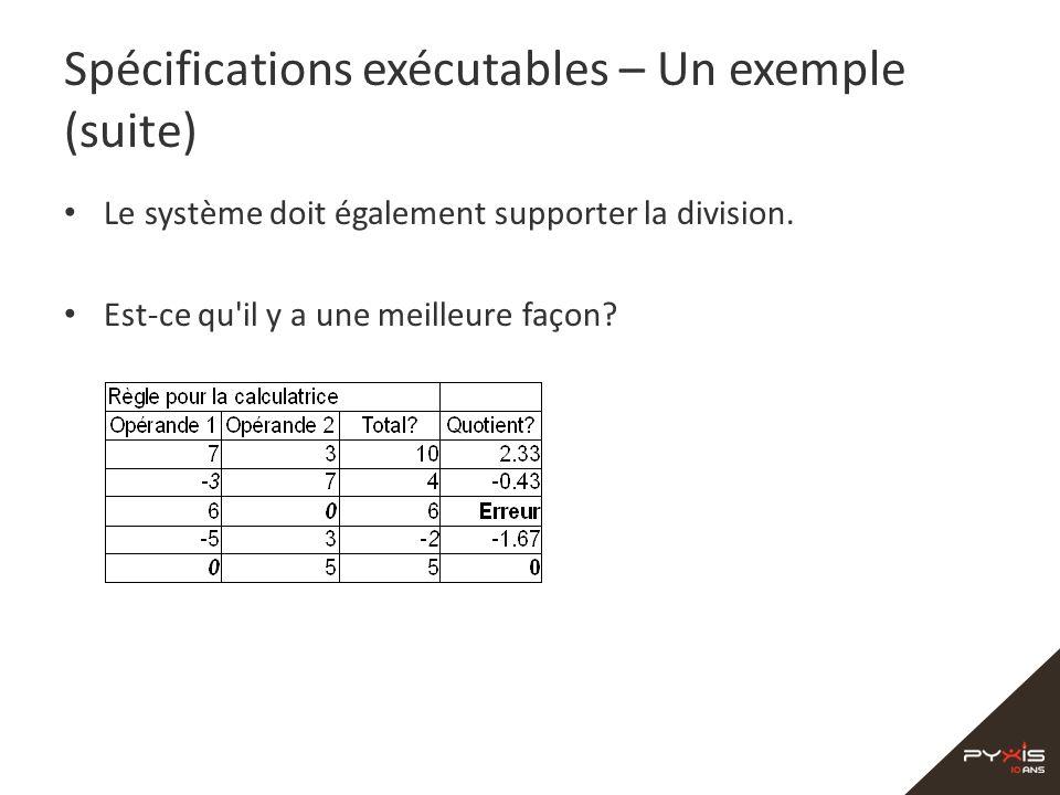 Spécifications exécutables – Un exemple (suite) Le système doit également supporter la division. Est-ce qu'il y a une meilleure façon?