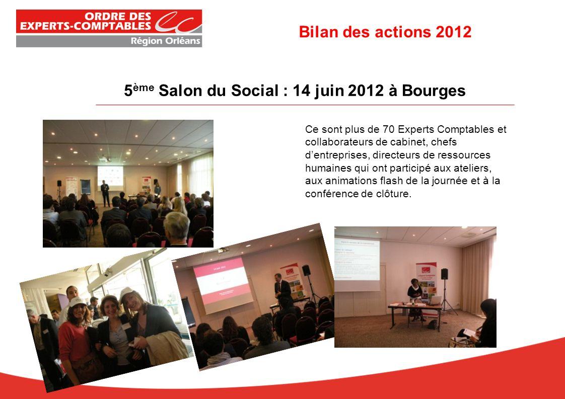 5 ème Salon du Social : 14 juin 2012 à Bourges Ce sont plus de 70 Experts Comptables et collaborateurs de cabinet, chefs dentreprises, directeurs de ressources humaines qui ont participé aux ateliers, aux animations flash de la journée et à la conférence de clôture.