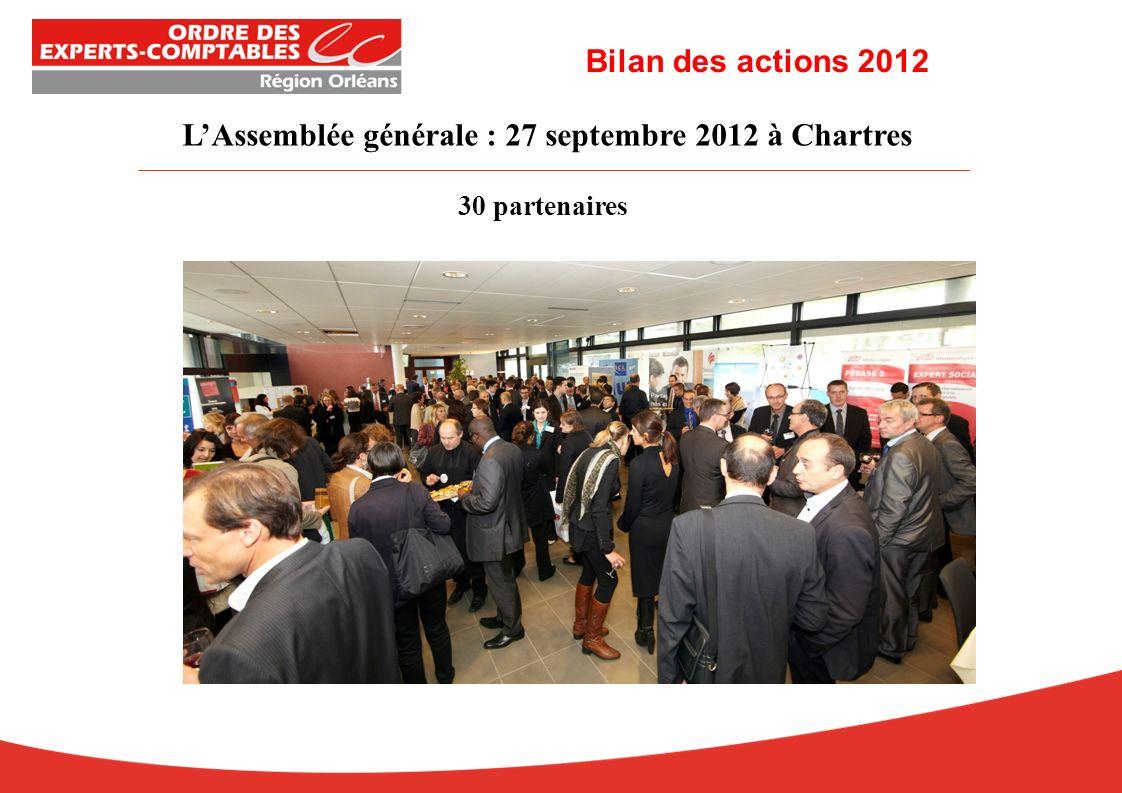 LAssemblée générale : 27 septembre 2012 à Chartres 30 partenaires Bilan des actions 2012