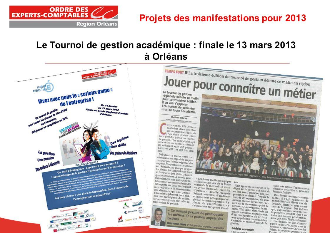 Le Tournoi de gestion académique : finale le 13 mars 2013 à Orléans Projets des manifestations pour 2013