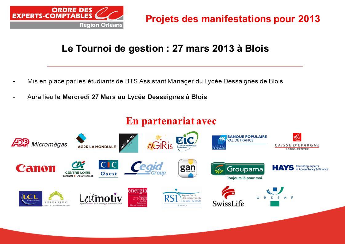 Le Tournoi de gestion : 27 mars 2013 à Blois -Mis en place par les étudiants de BTS Assistant Manager du Lycée Dessaignes de Blois -Aura lieu le Mercredi 27 Mars au Lycée Dessaignes à Blois En partenariat avec Projets des manifestations pour 2013