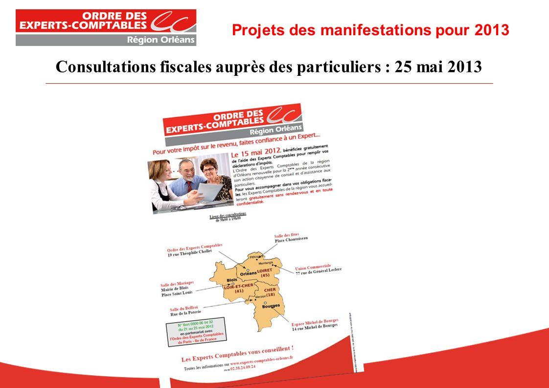 Consultations fiscales auprès des particuliers : 25 mai 2013 Projets des manifestations pour 2013