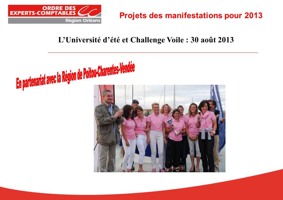 LUniversité dété et Challenge Voile : 30 août 2013 Projets des manifestations pour 2013