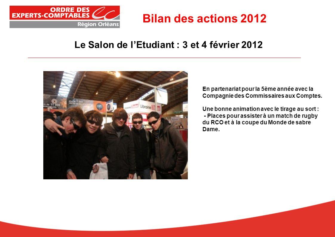 Bilan des actions 2012 Le Salon de lEtudiant : 3 et 4 février 2012 En partenariat pour la 5ème année avec la Compagnie des Commissaires aux Comptes.