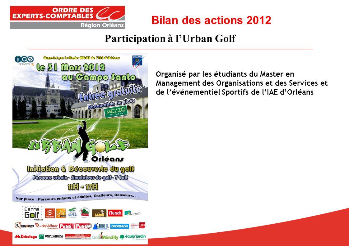 Organisé par les étudiants du Master en Management des Organisations et des Services et de lévénementiel Sportifs de lIAE dOrléans Bilan des actions 2012 Participation à lUrban Golf