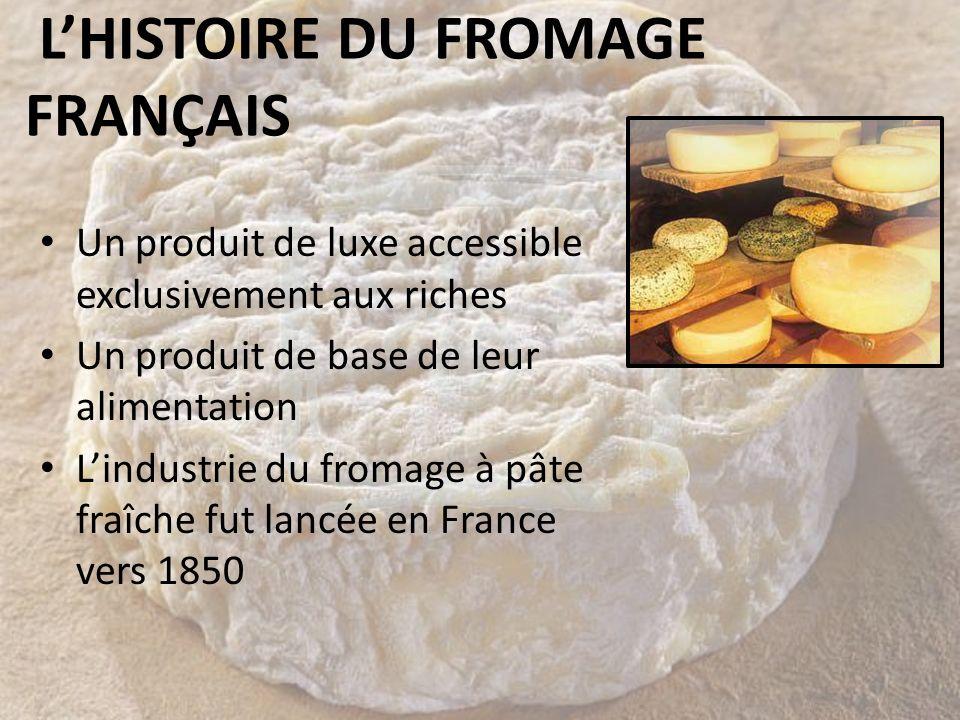 LHISTOIRE DU FROMAGE FRANÇAIS Un produit de luxe accessible exclusivement aux riches Un produit de base de leur alimentation Lindustrie du fromage à p